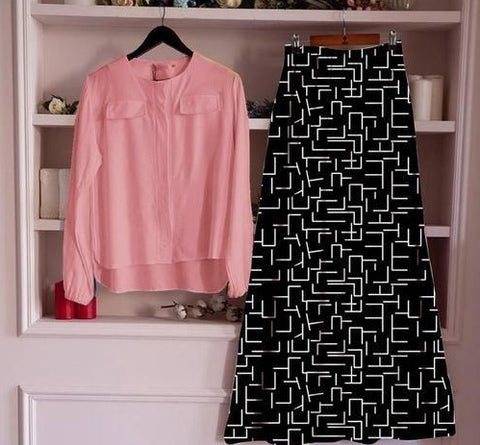 Black rayon printed skirt with pink top