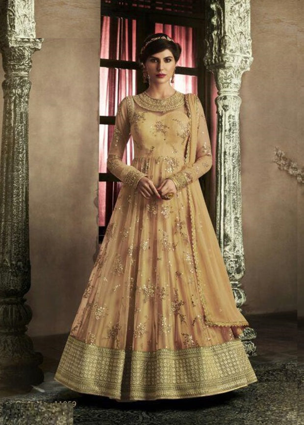 BEIGE NET LONG DESIGNER ANARKALI SUIT
