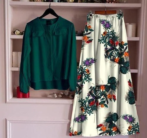 Cream and Green Rayon Floral Printed Skirt With Green Top