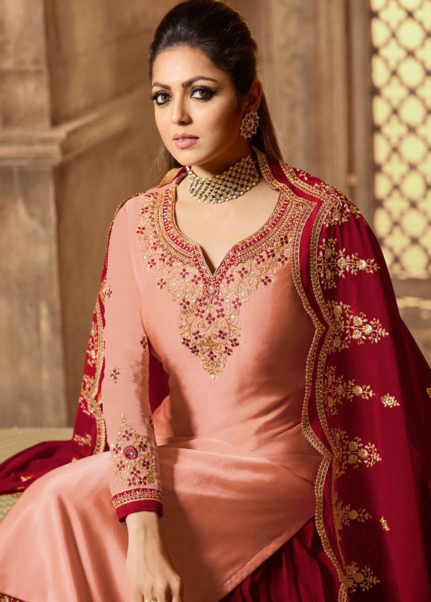 Partywear Designer Embroidery Light Salmon Satin Georgette Salwar Suit