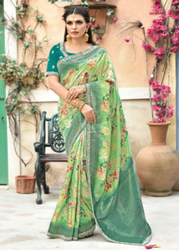 Green designer party wear saree