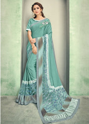 mint blue lycra saree
