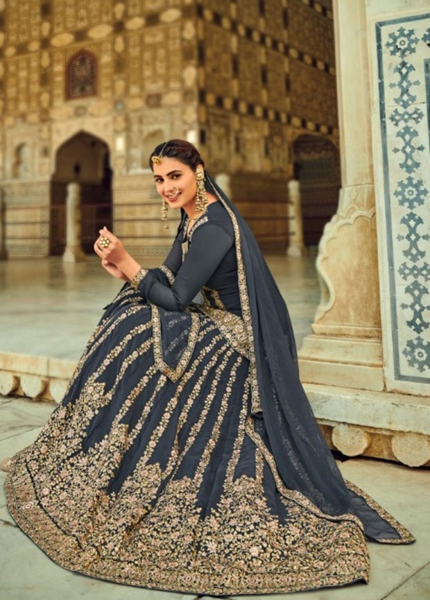 Navy Blue Partywear Long Blouse Lehenga