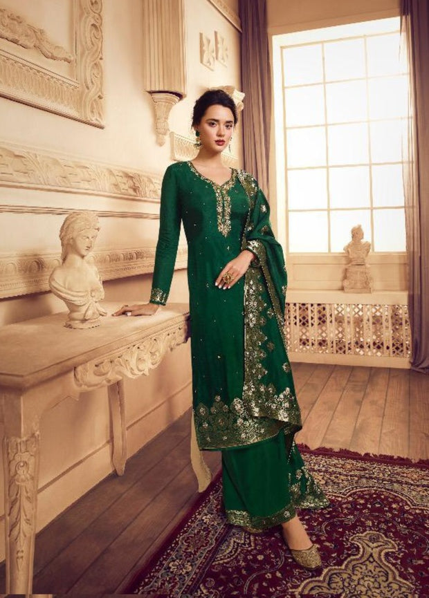 GREEN JACQUARD DOLLA SILK PALAZZO SUIT