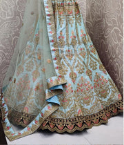 Sky blue bridal lehenga choli