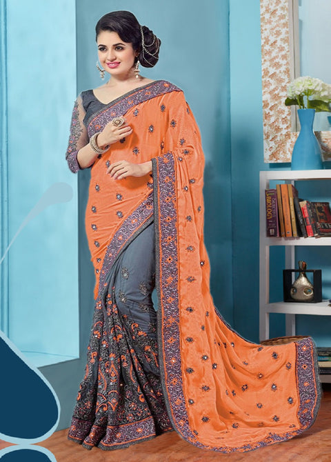 Gray and Orange Designer Saree