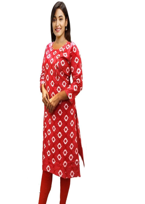 Red Pure Cotton Kurti