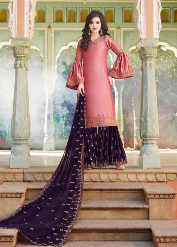 Pink And Wine Partywear Sharara Suit