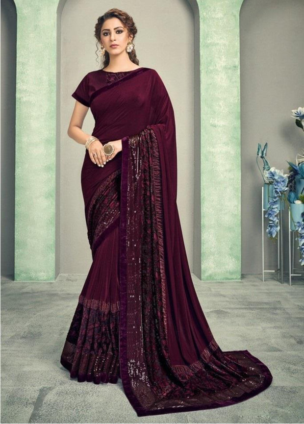 wine lycra saree