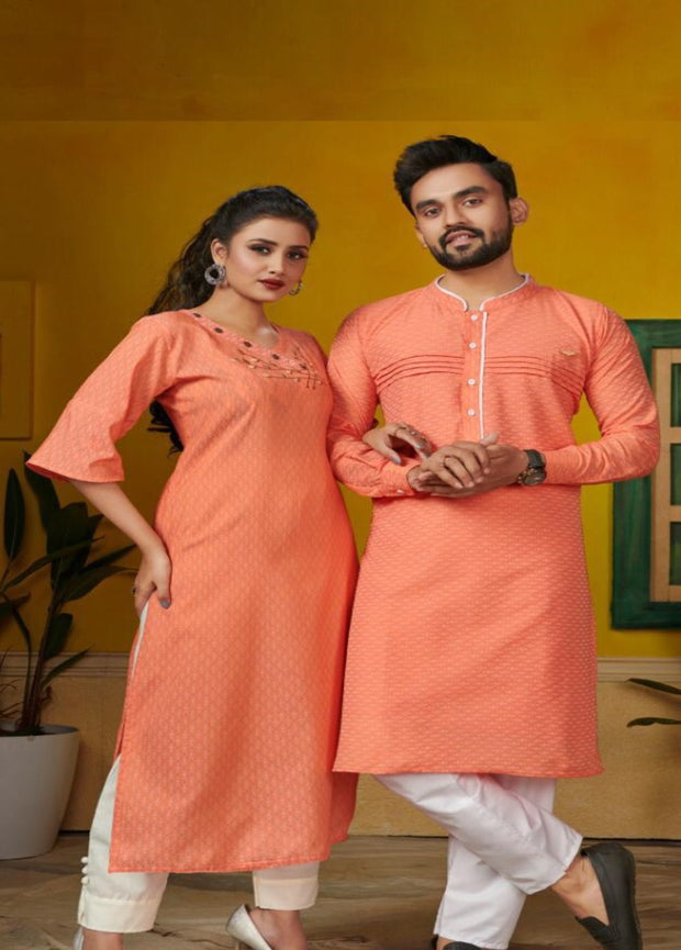 orange couple kurta