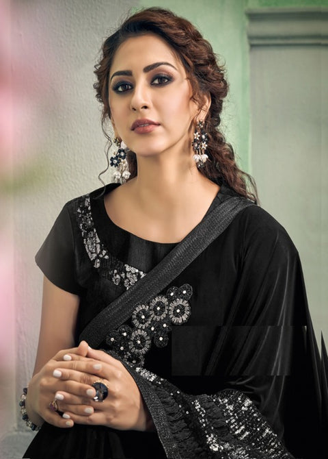 black lycra saree