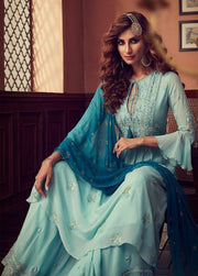 Light blue partywear Palazzo suit