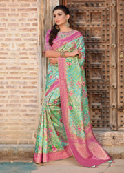 Green designer part wear saree
