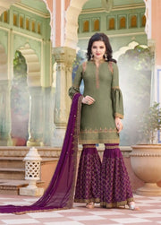 Green And Purple Partywear Sharara Suit