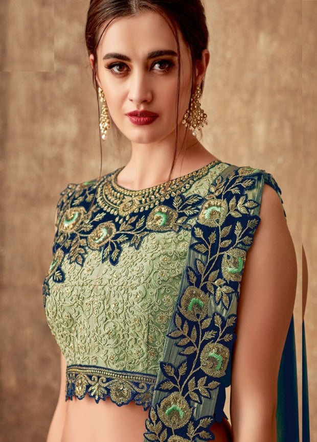 green blue weaved silk lehenga