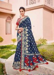 Blue weave silk saree