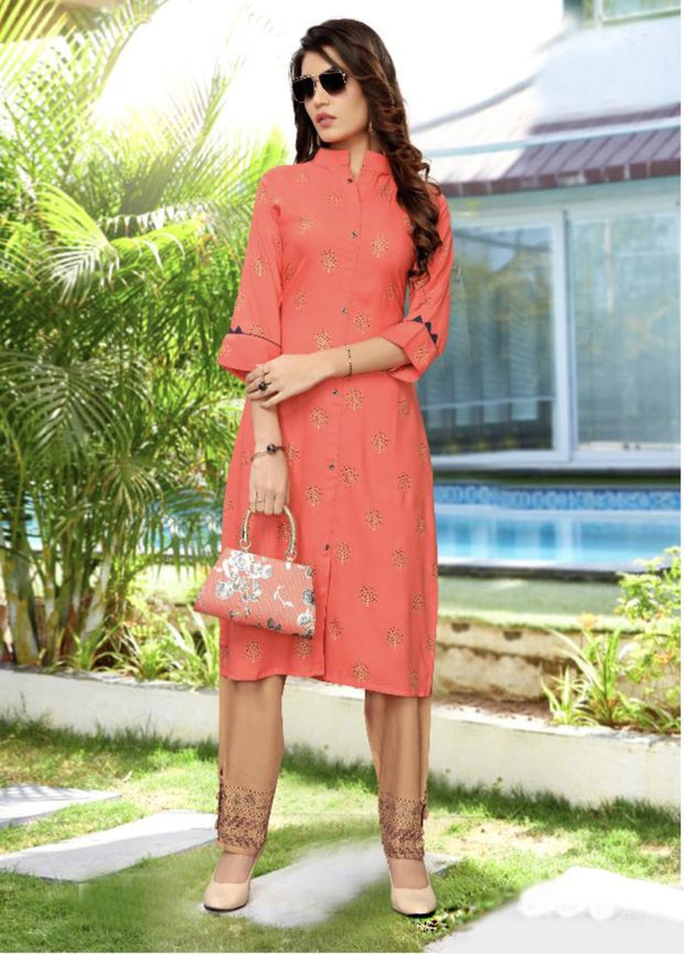 tomato and light brown khoyal printed kurti palazzo suit