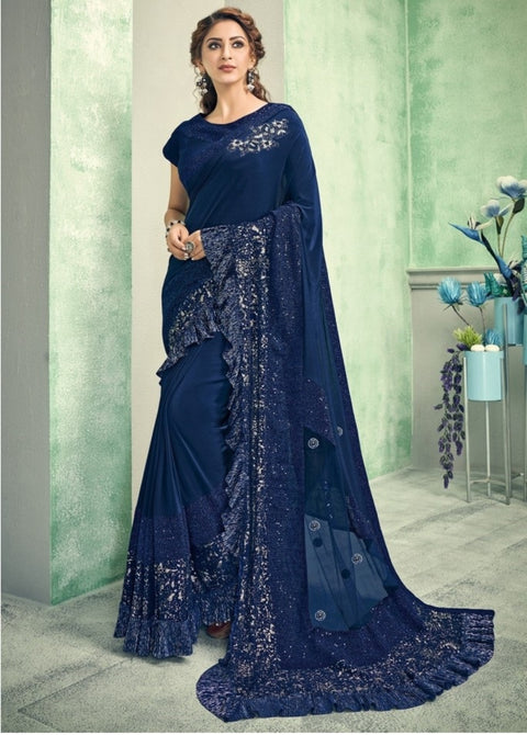 blue lycra saree