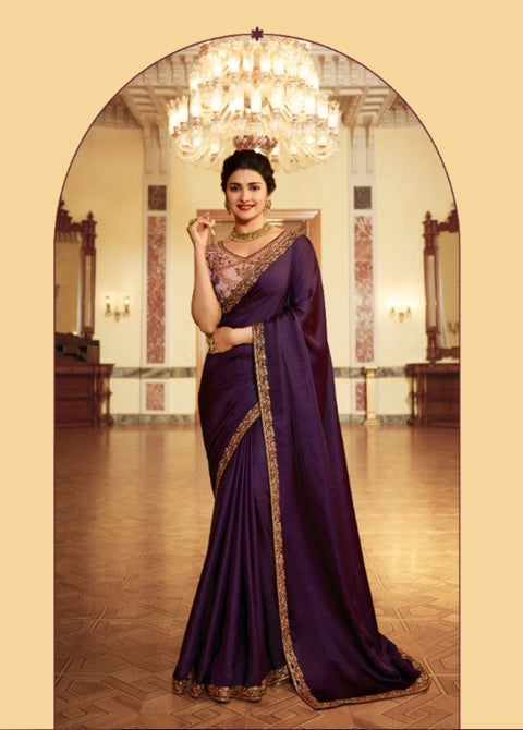 purple and pink georgette saree
