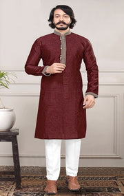 WINE SILK KURTA