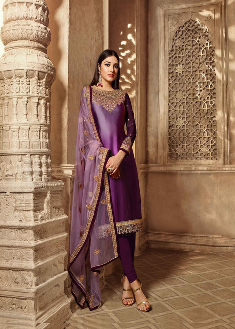 Party wear Designer Embroidery Purple Satin Georgette Salwar Suit