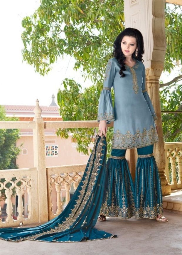 Grey And Teal Blue Partywear Sharara Suit