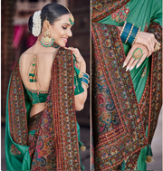 sea green dola silk saree