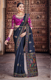 navy blue dola silk saree