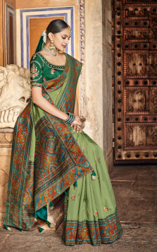 olive green dola silk saree