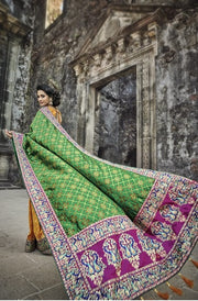Green and orange banarasi silk weeding saree