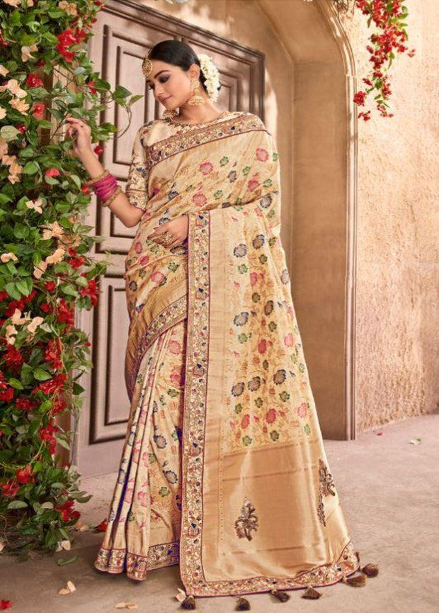 Beige banarasi silk wedding saree