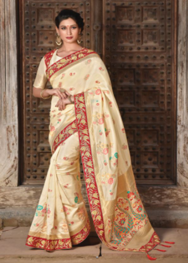 Cream designer party wear saree