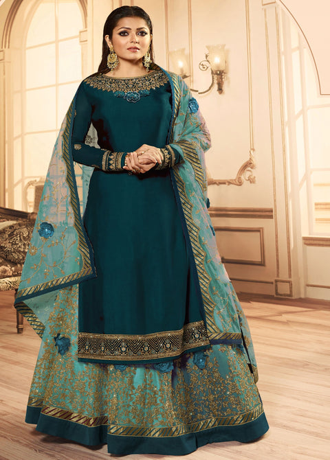 Rama Embroidery Georgette Lehenga Suit
