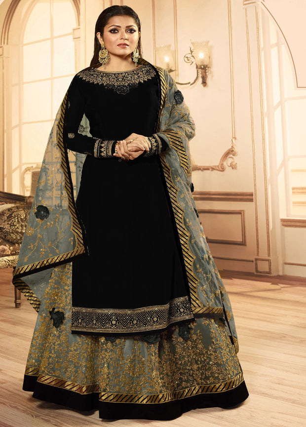 Black Embroidery Georgette Lehenga Suit
