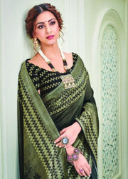 Black olive green silk saree