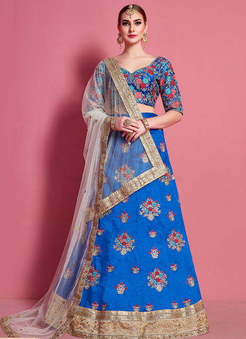 Royal Blue partywear lehenga choli