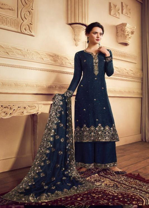 BLUE JACQUARD DOLLA SILK PALAZZO SUIT