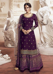 Purple Stone and Sequin Georgette Satin Palazzo Salwar Suit