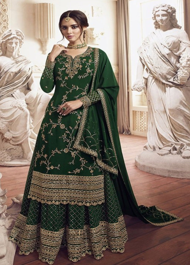 Green Embroidered Georgette Palazzo Salwar Suit
