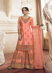 Peach-Orange Embroidered Net Palazzo Salwar Suit