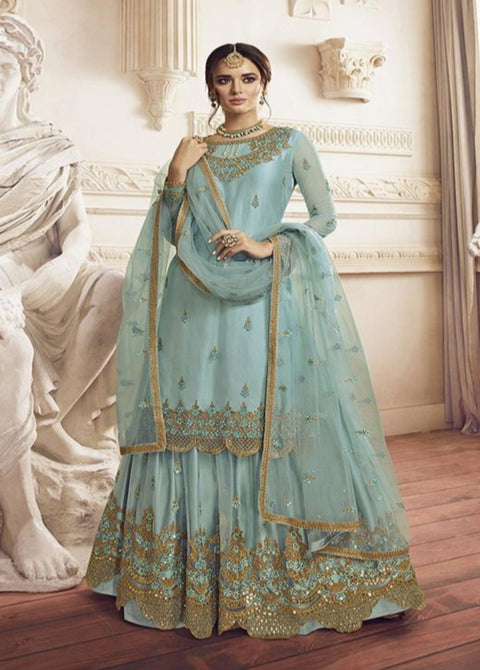 Sky Blue Embroidered Net Palazzo Suit
