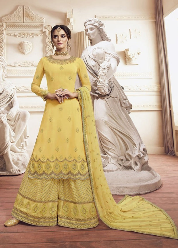 Yellow Glory Embroidered Georgette Palazzo Salwar Suit