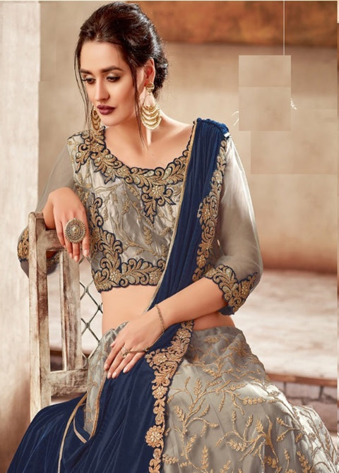 grey blue satin net lehenga