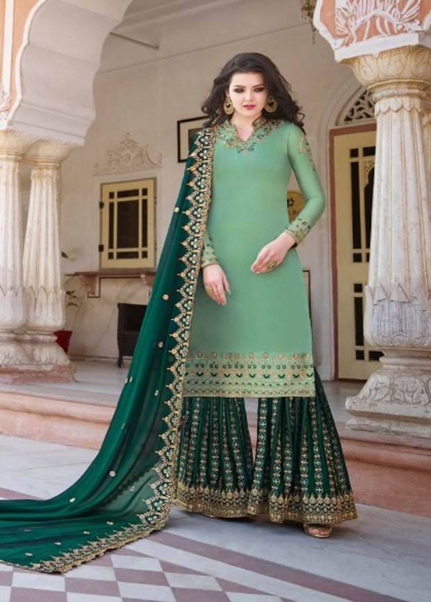 Light Green And Dark Green Partywear Sharara Suit