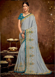 grey Dual tone silk saree with blue blouse
