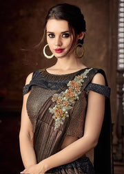 Black fancy jacquard lehenga choli