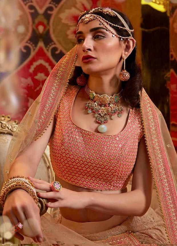 rose gold and pink Heavy Embroidered Viscose Georgette Wedding Lehenga