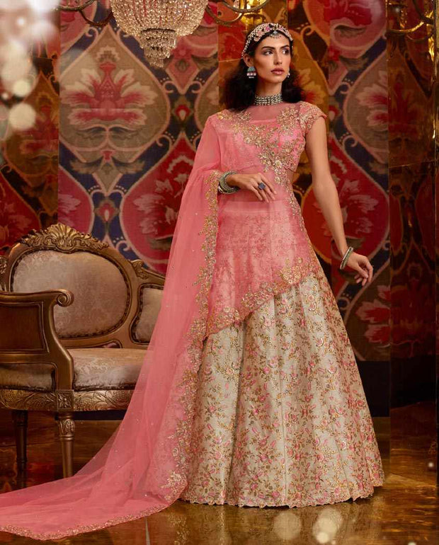 Off White and pink Heavy Embroidered Raw Silk Wedding Lehenga