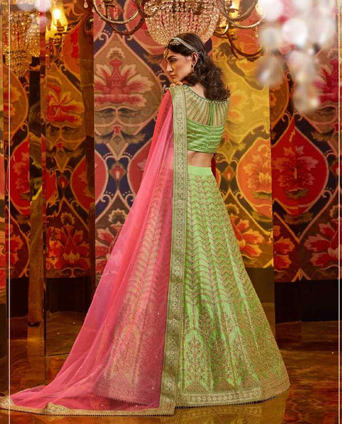 Pista Green Heavy Embroidered Raw Silk Wedding Lehenga