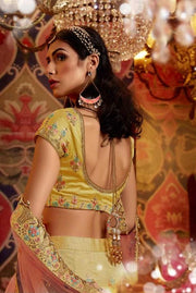Lemon Yellow Heavy Embroidered Raw Silk Wedding Lehenga